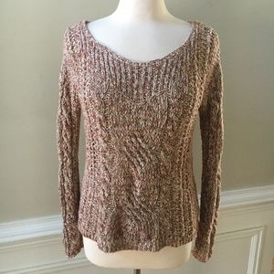 Free People Cable Knit Scoop Neck Marled Sweater